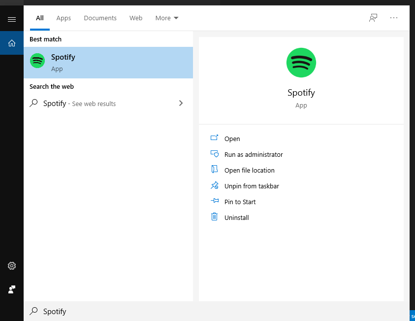 Using Windows search to find the Spotify desktop application