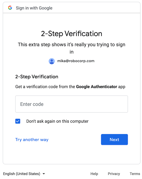 Google Sign-In Authenticator step