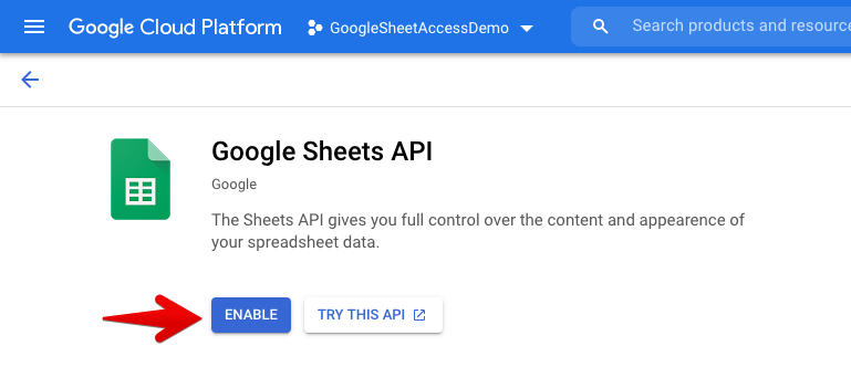 Enable Google Sheet API